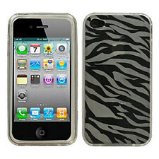 For Apple iPhone 4 4S TPU CANDY Gel Flexi Skin Case Phone Cover Clear Zebra