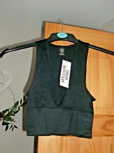 Urban Outfitters Ladies Black Josie V Neck Rib Crop Top UK Size 6 New with Tags