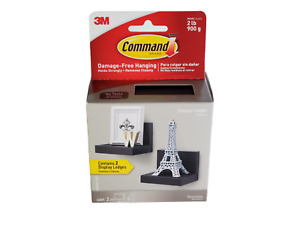 COMMAND Display Ledges Black 2 Hanging Floating Shelves 8 Strips - Holds 2 lbs