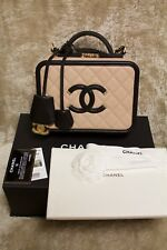 CHANEL FILIGREE VANITY BEIGE BLACK CAVIAR MEDIUM BAG PADLOCK + 2 KEYS - NWT