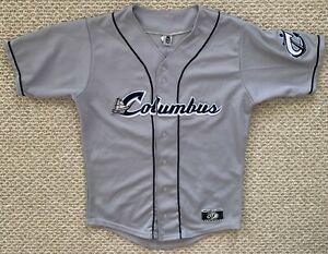 OT Sports Columbus Clippers Minor League Baseball Jersey Gray Blue Small