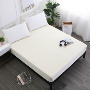 Solid Color Waterproof Fitted Sheet Extra Deep Mattress Cover Elastic Full Size