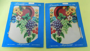 Vintage Meyercord Large Decal Red Dish, Grapes Cherries 8 3/4 x 6 3/4