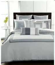 Hotel Collection Modern Frame White Grey Pima Cotton FULL / QUEEN Duvet Cover