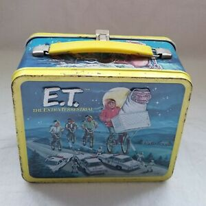 E.T. METAL LUNCH BOX VINTAGE 1982 ALADDIN. COMPLETE WITH THERMOS.