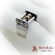 Modernist Unusual Shape Ring Brass Beads Sterling Silver