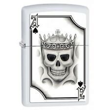 Zippo 2521 Ace of Spades-Skull White Matte Finish Full Size Lighter