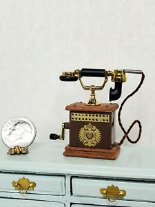 Vintage Magneto Phone Dollhouse Miniature 1:12 Working Crank Handle Wood & Metal