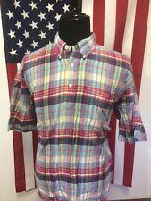 Ralph Lauren Madras Pullover Shirt men's 2XL XXL Short Sleeve Preppy Trad 24578