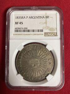1835 RA P Argentina 8R Rio De La Plata Sunface NGC XF45