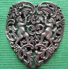 Art Nouveau London 1896 Solid Silver Heart & Cupids Nurse Buckle Valentine Gift
