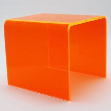 Small Neon Orange Edgelit Acrylic Table - Indoor or Outdoor - Transparent