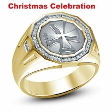 Cross Jesus Pinky Ring Band 1 Ct Mens Yellow Gold Finish Diamond Fashion Design