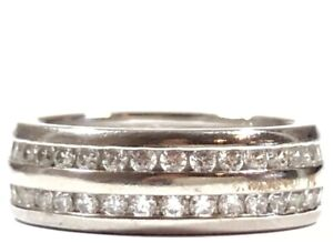 Beautiful Ladies Sterling Silver CZ Ring Band - Signed HTE - Size 5.25