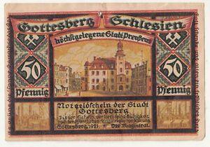 Notgeldschein Gottesberg in Schlesien 50 Pfennig 1921 Boguszów polska !