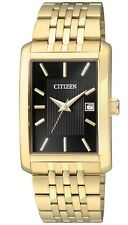 New Citizen Quartz  Date Gold Stainles Steel Black Dial Men`s Watch BH1673-50E