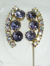 "Purple Aurora Borealis Rhinestone Double Ended Jabot Hatpin Stickpin Brooch 4"""