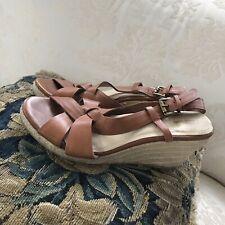 Lands' End Brown Leather Espadrilles Lands Strappy Wedges Sandals SZ 9.5 B