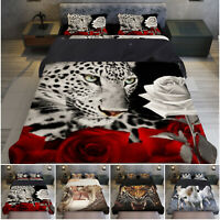 Animal Duvet Quilt Cover + Fitted Sheet & Pillowcase 3D Bedding Set All UK Size
