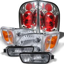 Fit 01-05 Tacoma Clear Headlights Corner Bumper Lights Set + Tail Lights Combo