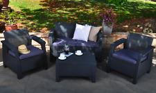 New 3 Piece All Weather Outdoor Patio Set Loveseat Armchair & Coffee Table