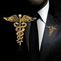 Medicine Student Symbol Crystal Caduceus Badge Doctor's Nurse Brooch Pin Gift