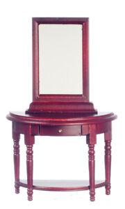 Dollhouse Miniature Mahogany Hall Table with Mirror