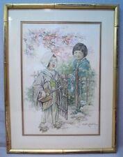 Clara M. Burd Original Watercolor Japanese Children Listed Illustration Art