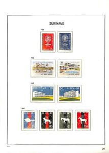 [OP5329] Suriname lot of stamps on 12 pages