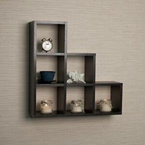 Black Laminated MDF Decorative Stepped Six Cubby Wall Mounted Shelf