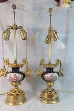 ANTIQUE PAIR OF BRASS & GILDED FRENCH LAMPS COBALT BLUE WITH CHERUBS