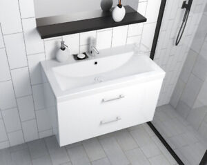 Badmöbel Waschbecken Keramik 80 cm Waschtisch Unterschrank Griffe Schublade weiß