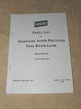 Hardinge HLV-H Toolroom Lathe Parts List
