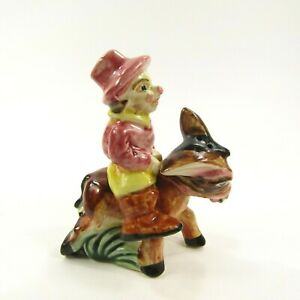 Vintage Salt Pepper Shaker Set Clown riding on Donkey pony horse Japan  *325