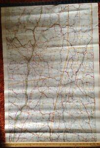 c 1908 Walkers Automobile Map Hudson River North NY CT MA VT Railroads America