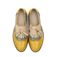 A British Womens vintage Retro Brogue Flat Oxfords Wing Tip Leather SHoes Tassel