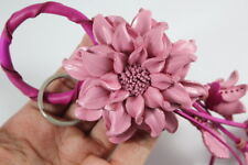 Light Pink Dahlia Handmade Flower Keychain Handbag Purse Charm Genuine Leather
