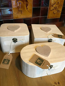 Wooden Boxes with Heart for Decoupage or Paint