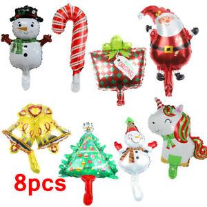 8pcs Mini Foil Balloons Christmas Party Air Fill Snowman Pumpkin Santa Kids Xmas