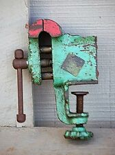 Old Vintage Mini Steel Vise Tool Small Hobby Clamp on Bench Vise Garage Man Cave