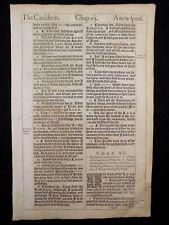 1611 KING JAMES BIBLE LEAF PAGE * BOOK OF EZEKIEL 11:4-12:28 *THE CAULDRON* VGC