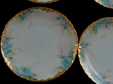 Rex Bavaria SET OF 6 HAND PAINTED BREAD PLATES TINY BLUE FLOWERS GOLD TRIM EXCE