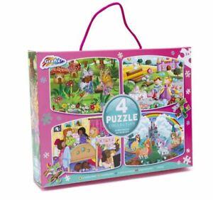 Grafix 4 x 45 Piece puzzles (Fairy Land, Princess, Sleepover, Unicorn Kingdom)