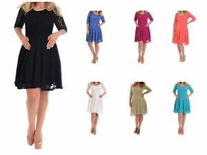 Plus Size Ladies Floral Lace Mid Lined Skater Women Party Dress