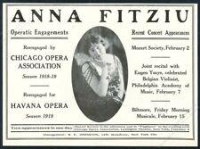 1918 Anna Fitziu photo opera singing recital booking trade print ad