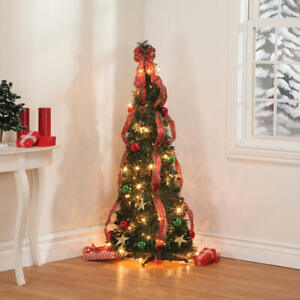 4-Foot Pre-Lit Fully Decorated Plaid Bow Pull-Up Collapsible Christmas Tree