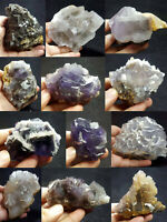 Fluorite Specimens Lot Natural Purple Blue Cubic Formation Crystals 4.8kg 12Pcs