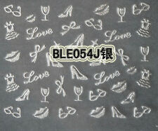 Silver Glitter Lips Kisses Love Shoes Bow 3D Designs Nail Art Sticker Decoration