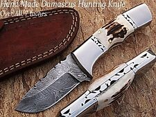 New Stag Handle 100% Handmade Damascus Steel Fixed Blade Hunting Knife W/Case
