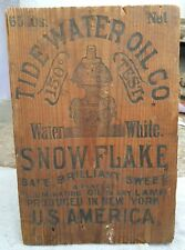 1920'S VINTAGE RARE TIDE WATER OIL CO. WOODEN ADV. SIGN BOARD, U.S.A